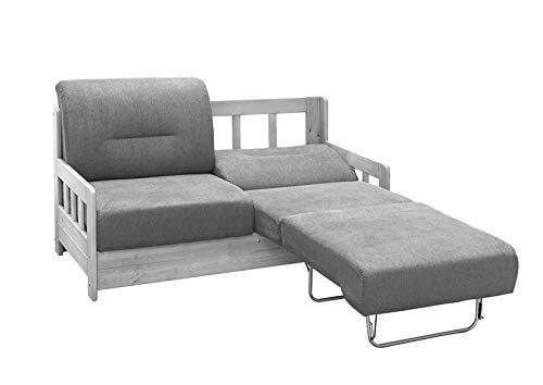 lifestyle4living Schlafsofa in Grau/Weiß zum Ausziehen mit 2 Liegeflächen | Microfaser/Massivholz/Federkern | Gemütliches Sofa mit Schlaffunktion im Landhausstil