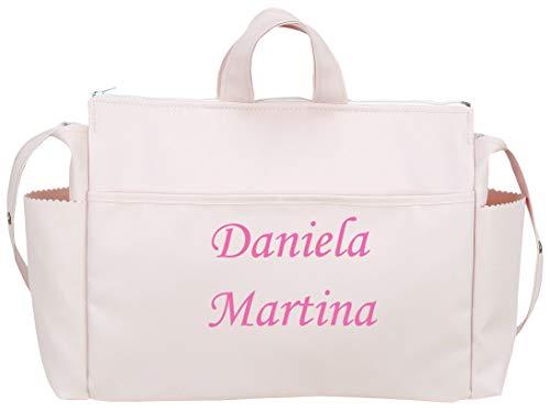 danielstore- Bolso Talega Personalizado Bebe Carrito Gemelar bebe con nombres bordados. + Regalo de un pack con dos baberos (Talega rosa)