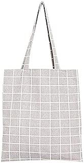 TOOGOO Women Student Cotton + canvas Fashion Plaid Shoulder Tote Handbag Eco Shopping Large Capacity Canvas Purse Pouch(White)