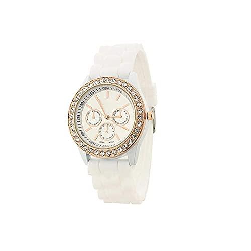 Las mujeres del estilo simple reloj analógico de cuarzo reloj de pulsera del Rhinestone con cuero, pulseras del encanto de la banda con estilo reloj de las mujeres relojes de la pulsera de acero