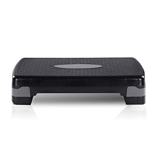 Superway Exercise Step Platform for Home Yoga/Gym Excise, Step Exercise Slimming Equipment Trainer with 4 Risers Fitness, Adjustable Height/Light Weight to 4/6 in and Carry-Support 550 LBs, Grey