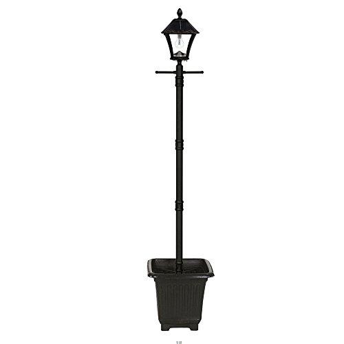 Gama Sonic 106BPLSG0 Baytown Bulb Outdoor Solar Light and Post, Lamp and Planter, Black