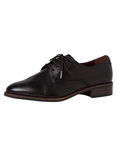 Tamaris Damen Schnürhalbschuhe, Frauen Businessschuh, geschäftlich Halbschuh schnürschuh schnürer klassisch elegant,Black Leather,40 EU / 6.5 UK
