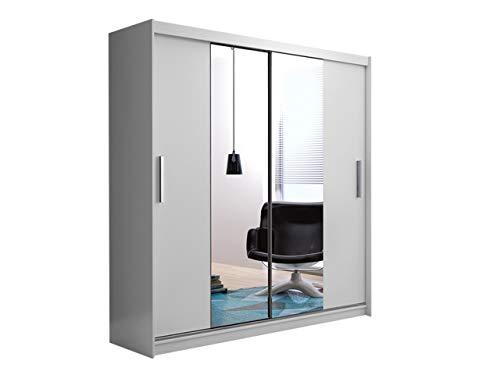 Mirjan24 Kleiderschrank Louis VI, Schwebetürenschrank mit Spiegel, Garderobenschrank mit Kleiderstange und Einlegeboden, Dielenschrank, Flurschrank, Schlafzimmerschrank (Weiß)