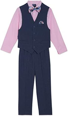 Nautica Boys Little 4 Piece Set with Dress Shirt Bow Tie Vest and Pants moody blue 7 product image