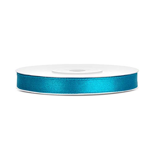 DaLoKu Satinband 6/12/25/38/50/100mm x 25m Geschenkband Schleifenband, Größe: 6mm x 25m, Farbe: Türkis