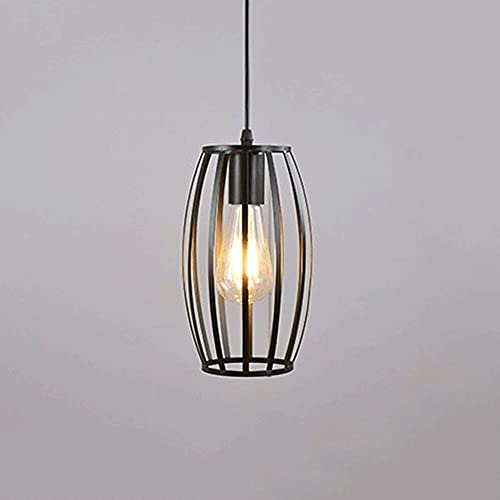 Svart industriellt hänge ljus, smidesjärn trådbur hängande lampor, Edison E27 uttag, enkelt lampa bur suspensionsljus för kök ö, matsal, korridor