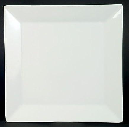 Preisvergleich für 6 Speiseteller Teller flach Quadrat Weiss Neu Eckig Porzellan 6 Personen