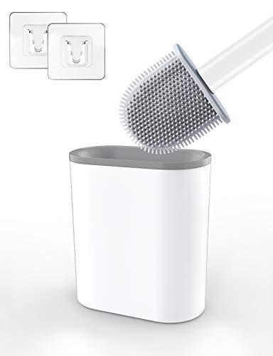 Aitsite Escobilla de Inodoro Cepillo y Soporte para Inodoro de Silicona con Cepillo de Cerdas Suaves Escobilla WC/Cepillo Limpieza Y Soporte para Inodoro(Blanco)