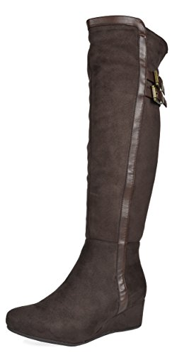 DREAM PAIRS Women's Bailee Brown Low Wedge Heel Over The Knee Winter Boots Size 5.5 M US