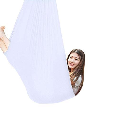 zyy Hamaca Oscilación Columpio De Terapia Abrazo Ideal for La Integración Sensorial Swing De Yoga con Mosquetón hasta 440 Lbs (Color : White, Size : 100x280cm/39x110in)