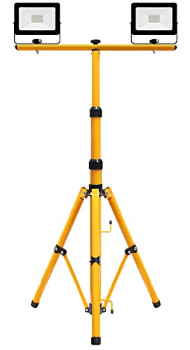 Photo of IP65 30w LED Twin Floodlight Tripod Stand for Job Site Lighting 2 Mount Retractable Frame TRI021703
