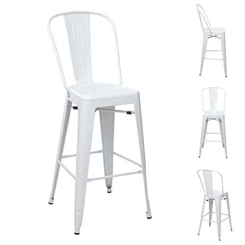 Mendler 4X Tabouret de Bar HWC-A73, Chaise de comptoir avec Dossier, métal, Design Industriel - Blanc
