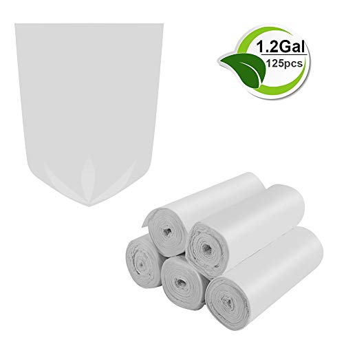 1.2 Gallon Trash Bags Biodegradable Trash Bags Small Garbage Bags Recycling Compostable Rubbish Bags Unscented Wastebasket Can Liners for Bathroom,Home, Office, Baby diaper(White, 125 Counts)