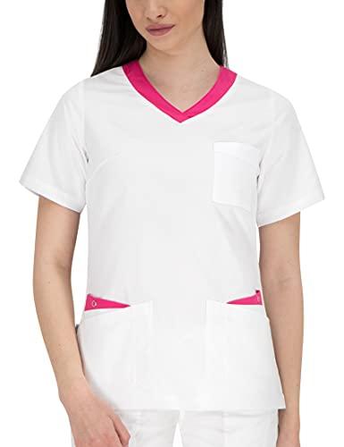 B-well Paola Kasack Damen Weiß V-Ausschnitt Schlupfkasack Kasack Damen Pflege Medizinische Berufsbekleidung (Weiß/Rosa, 40)