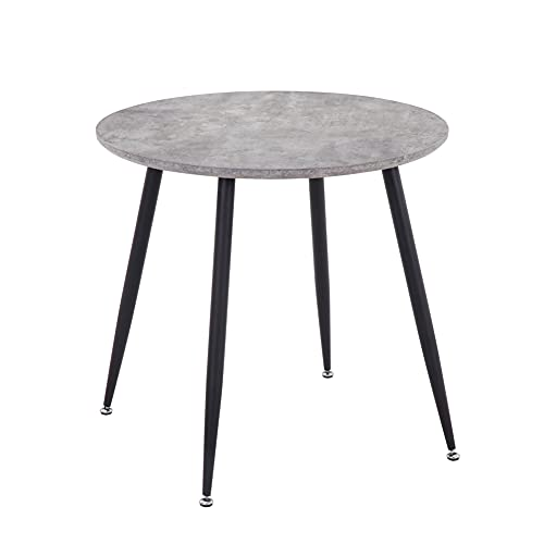 GOLDFAN Round Dining Table Retro Design Kitchen Wooden Table With Black Metal Legs for Dining Room Living Room Office, Gray
