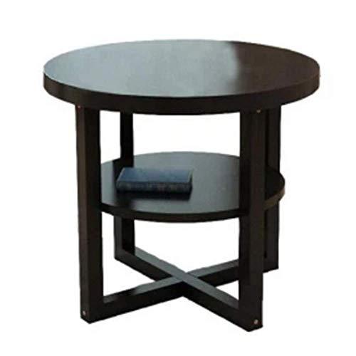 Zaixi Table d'appoint en Bois Massif Table Basse à Deux étages créative Accueil Salon Côté Petit Appartement Table Basse Ronde Forte capacité portante (Taille : 50CM)