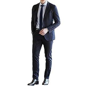 [MARUTOMI]スリムスーツ ストレッチ素材 3シーズン対応 春夏 2ツボタン アンコンジャケット 洗えるパンツ プリーツ加工 パンツウォッシャブル ファンウォーク オフィス メンズ 紳士 ビジネス スーツ suit HGR ◆2:ネイビーグレンチェック 20SNK-2-BB8