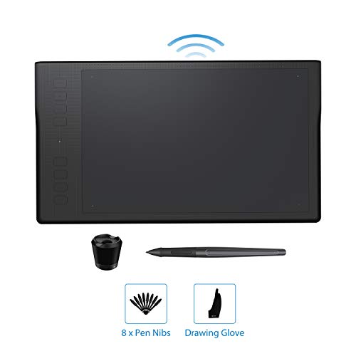 Huion Inspiroy Q11K Wireless Graphics Drawing Tablet Digital Art Tablet with 8192 Pressure Sensitivity 8 Express Keys Glove-11inch, Compatible with Mac Windows