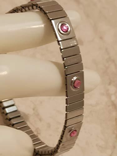 Pulsera de plata simple para niña adolescente, cuarzo rosa, 8 mm, octubre, nacimiento, pulsera de plata hecha a mano, 9 piedras de cristal de Swarovski, regalo para adolescentes, novia, hija,