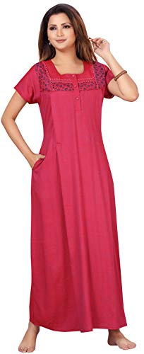 CEE 18 Women's Cotton Rayon A-Line Dusty Wine Maternity Feeding Long Nighty Night Gown with Concealed Zipper(9523_M,Dusty Wine,M)