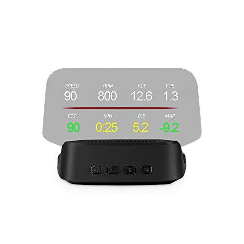 Gecheer Affichage HUD de Voiture,Affichage Tête Haute OBD + Compteur de Vitesse Haute Définition GPS,Outil de Diagnostic de Voiture Suppression du Code D'erreur OBD