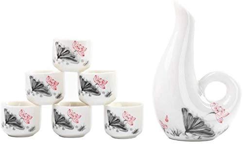 QIBIN 7-teiliges Set Sake, japanische Art Sake Cup Set, einzigartiges Elegant Design, for Kalt/Warm/Hot Sake/Shochu/Tee, for Familie und Freunde Für Geschenk Sake Cups
