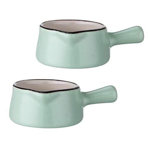 Hemoton 2Pcs 50Ml di Ceramica Creamer Tazza di Salsa di Tazza con Manico Marmellata Sciroppo Che Serve Mini Supporto di Tazza di Salsa di Immersione Ciotola Ristorante Piccolo Sapore