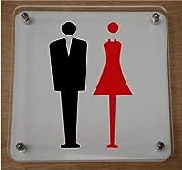 トイレマーク 男女 案内板 トイレ表示 トイレサイン トイレプレート ホテル 二層式 アクリル (縦15cm×横15cm)