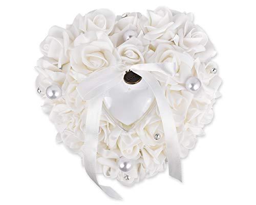SCSpecial Hochzeit Ringkissen Zeremonie herzförmige Ring Bearer Kissen Hochzeiten Ring Box Halter romantische Hochzeit Zubehör - weiß