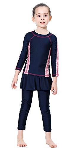 TianMai Mädchen Kinder Muslimische Bademode Islamische Schwimmanzug Badeanzug Burkini Muslim Swimwear (Blau, 140cm)