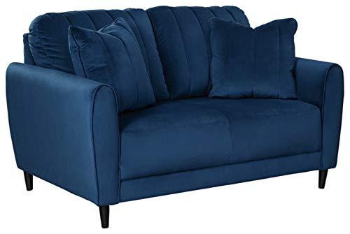 Signature Design by Ashley - Enderlin Velvet Loveseat w/ 2 Toss Pillows, Vibrant Blue