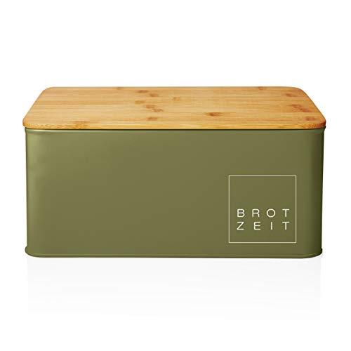 Lumaland corbeille à pain de cuisine en métal avec couvercle en bambou, rectangulaire, ca. 30,5 x 23,5 x 14 cm vert d'herbe