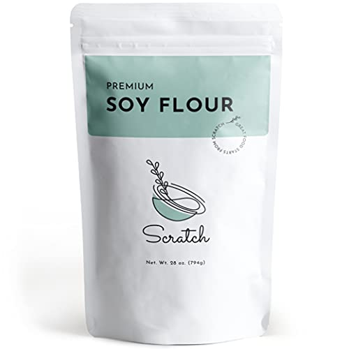 Scratch Premium Defatted Soybean Flour - Gourmet Baking Ingredients - Contains Calcium, Iron, Potassium, Protein, & Dietary Fiber - Rich Nutty Flavor - Low in Fat - Great Wheat Substitute (28oz)