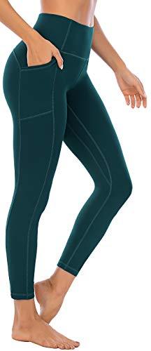 OVRUNS Pantalon de yoga pour femme avec poche Motif léopard imprimé Taille haute Exercice de fitness - Vert - X-Large