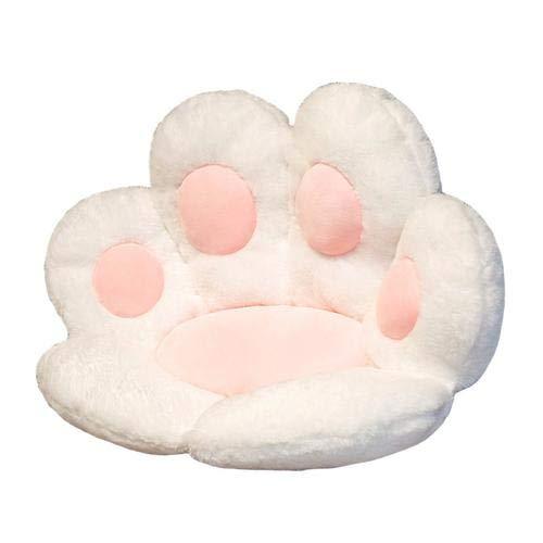 Teckey Cojín con forma de gato perezoso para sofá, silla de oficina, cojín de felpa suave y cálido en la cintura, cojín para el hogar, oficina, sofá, respetuoso con la piel (blanco)