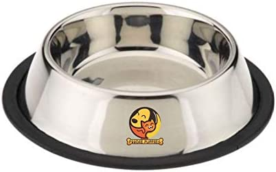 Foodie Puppies Stainless Steel Anti Skid Dog/Pet Feeding Bowl - Medium (Pack of 1)