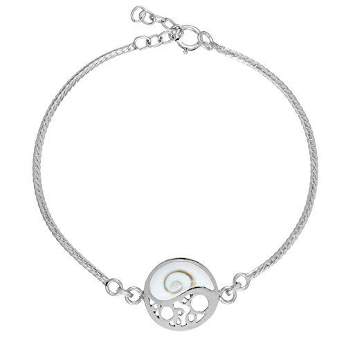 81stgeneration Frauen .925 Sterling Silber Yin Yang Shiva Auge Muschel Armband, 17 + 2 cm Extender