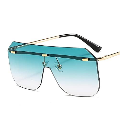 XINMAN Moda Gafas De Sol De Una Pieza Personalidad Gafas De Sol De Montura Grande Tendencia Hombres Y Mujeres Gafas De Sol De Todo Fósforo Montura Dorada Degradado Verde