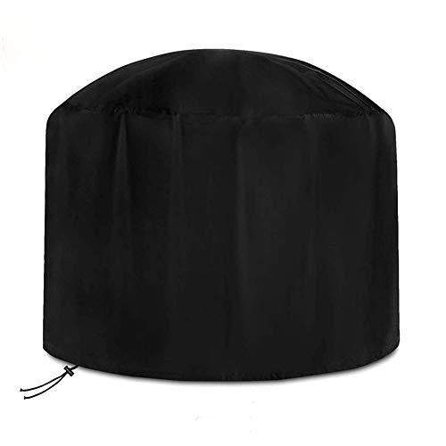 Copertura rotonda per braciere, impermeabile, antipolvere, resistente, per braciere da giardino, rotonda, per caminetto da giardino, 122 x 46 cm, colore: nero