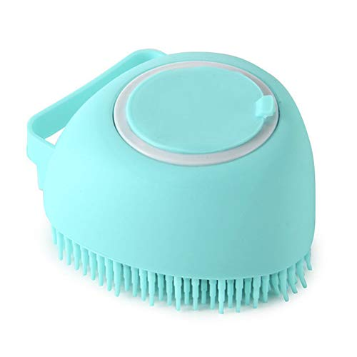 Moligin Pet Shampoo Brush Pet Bath Brush Dog Brush Rubbe Pet Dog Bath Brush Comb Silicone Spa Shampoo Massage Brush Shower Hair Removal Comb for Dogs Cats Cleaning Grooming Tool Blue