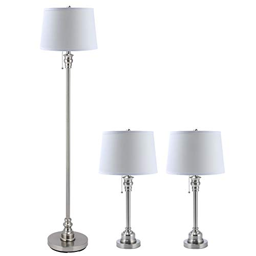 CO-Z 3 Lamp Set with White Fabric Shade, Modern Table lamp and Floor Lamp for Living Room Bedroom in Steel Finish, ETL Certificate (26 + 26 + 58 Inches in Height).