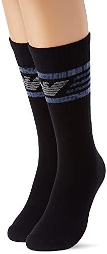 Emporio Armani Underwear Sporty 2 Paquetes de Calcetines Cortos, Black, TU (Pack de 3) de los Hombres