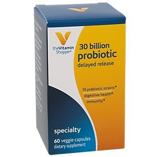 Probiotic Delayed Release 30 Billion with 10 Probiotic Strains to Support Digestive, Immune Vaginal Health or Yeast Imbalance Shelf Stable (60 Veggie Caps) by The Vitamin Shoppe