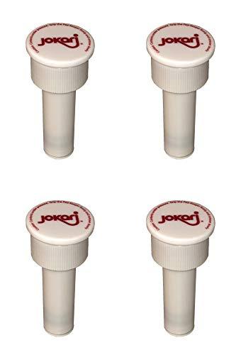Jokari 05002 Fizz Keeper Pump Cap Pumpenkappe für 2 Liter Flaschen, Weiß, 3.6cm x 8cm, Hält den Fizz In, 4 Stücke