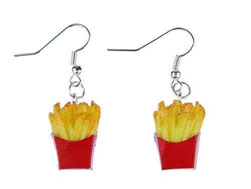 Francese Orecchini Miniblings patatine fritte in sacchetto di carta dettagli 3D rosso giallo