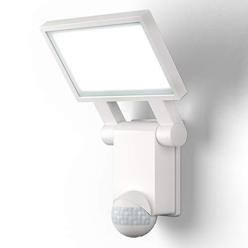 B.K.Licht I LED Außenleuchte mit Bewegungsmelder I IP44 I 20W Außenlampe mit Dämmerungssensor I 2000lm I 4.000K Neutralweiß I Weiß
