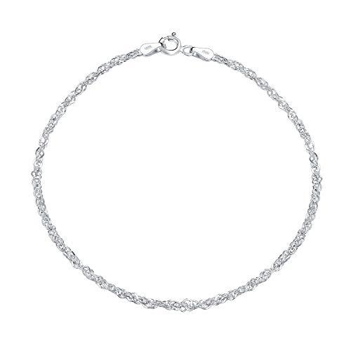 Bling Jewelry Plata de Ley Tobillera Singapur cadena tobillo pulsera Italia
