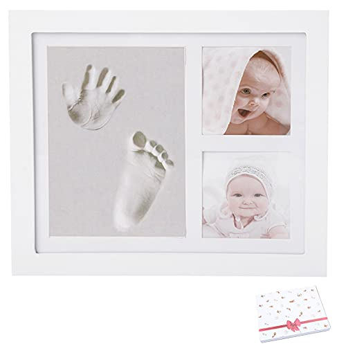 Kit empreintes mains et pieds bébé avec cadre photo | Idée cadeau souvenir ou pour liste de naissance fille ou garçon | Accessoire de décoration chambre nouveau-né | Argile non-toxique
