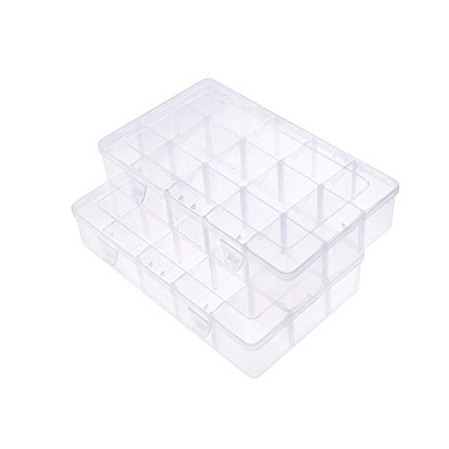PandaHall Elite 2 Pack 15 Grids Jewelry Dividers Box Organizer Adjustable Clear Plastic Bead Case Storage Container 16.5x27.5x5.5cm for Washi Tape Beads Small Items Craft Findings